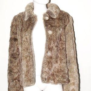 Faux Mink Button Up Coat